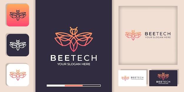 Logotipo de tecnología de abejas con diseño de línea y plantilla de tarjeta de visita
