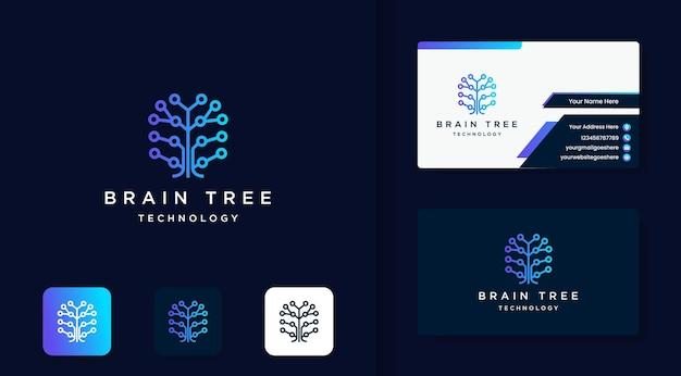 Logotipo de tecnología de árbol cerebral con circuito de puntos y tarjeta de visita