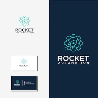 Logotipo de tecnología de automatización de cohetes y vector premium de tarjeta de visita