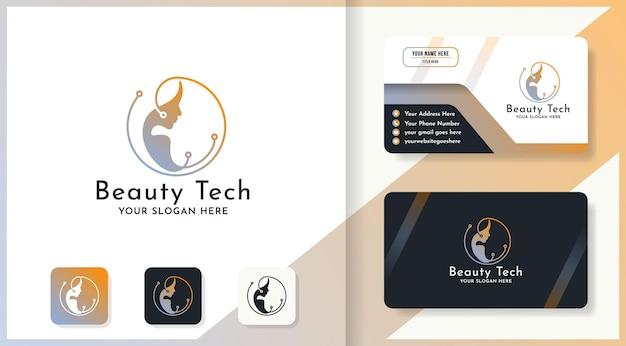 Logotipo de tecnología de belleza de mujer circular y diseño de tarjeta de visita.