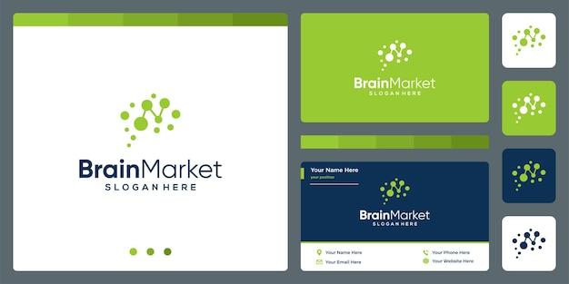 Logotipo de tecnología cerebral con análisis de inversión financiera y plantilla de diseño de tarjeta de visita