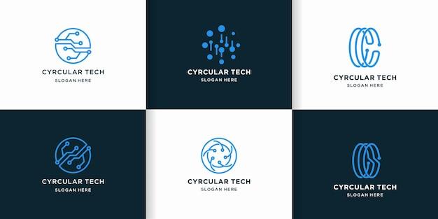 Logotipo de tecnología circular con concepto de circuito de línea