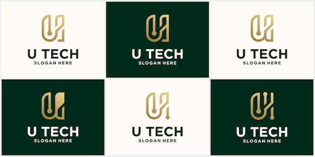 Logotipo de tecnología diseño de logotipo letra u inicial con combinación de colores