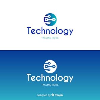 Logotipo de tecnología en estilo degradado