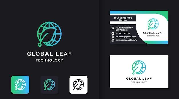 Logotipo de tecnología de hoja mundial y diseño de tarjetas de visita.