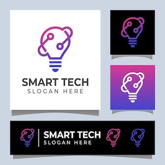 Logotipo de tecnología inteligente de estilo de arte lineal
