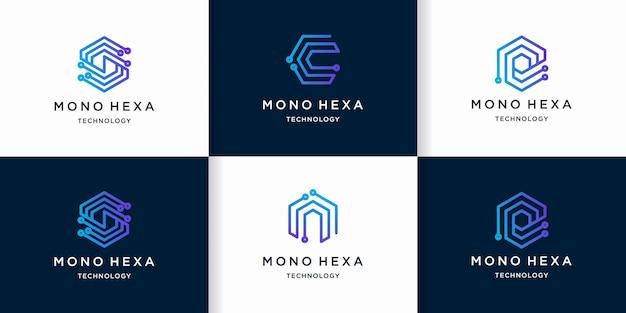 Logotipo de tecnología de letra scen con concepto de circuito hexagonal