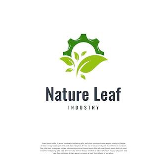 Logotipo de tecnología de naturaleza moderna, vector de máquina de hoja y engranaje, icono de plantilla de logotipo de agricultura, vector de diseño de plantilla de logotipo de tecnología ecológica verde, industria de la naturaleza