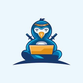 Logotipo de la tecnología ninja penguin