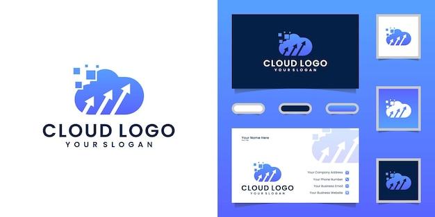 Logotipo de tecnología en la nube con flecha y tarjeta de visita