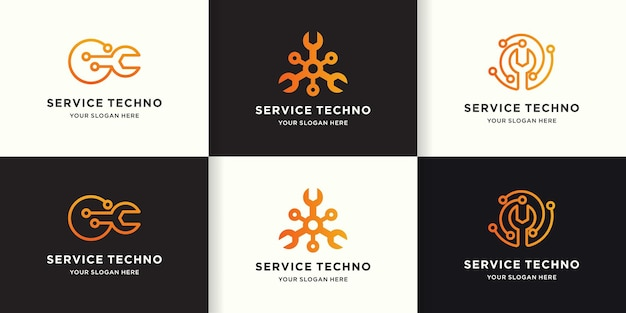 Logotipo de tecnología de servicio de reparación, circuito de herramientas circular
