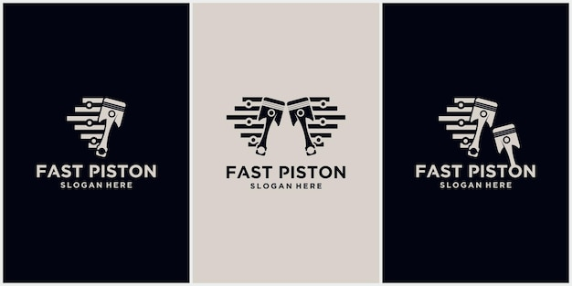 Logotipo de tecnología de velocidad de pistón símbolo de logotipo automotriz ilustración vectorial de un logotipo de pistón