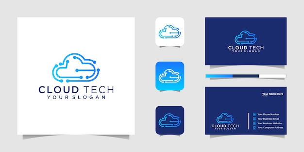 Logotipo de tecnologías en la nube. logotipo de la nube. mejor logo de tecnologías en la nube. logotipo de arte de línea de nube. logotipo de chip de nube y tarjeta de visita