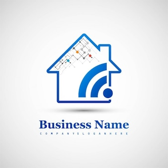 Logotipo tecnológico con una casa y wifi