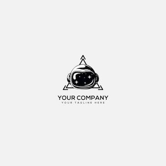 Logotipo tecnológico, logotipo de astronauta, astronauta de casco y logotipo tecnológico de triángulo