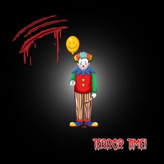 Logotipo de terror time con payaso espeluznante