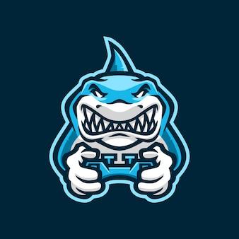 Logotipo de tiburón gaming joy stick e sport