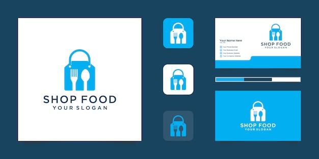 Logotipo de la tienda de alimentos con bolsa de compras y tenedor y cuchara de espacio negativo y tarjeta de visita inspirada