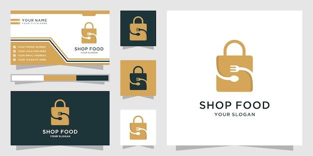 Logotipo de tienda de alimentos con diseño de bolsa de compras.