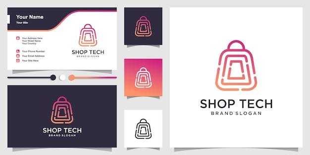 Logotipo de la tienda con concepto de tecnología de arte lineal y diseño de tarjeta de visita.