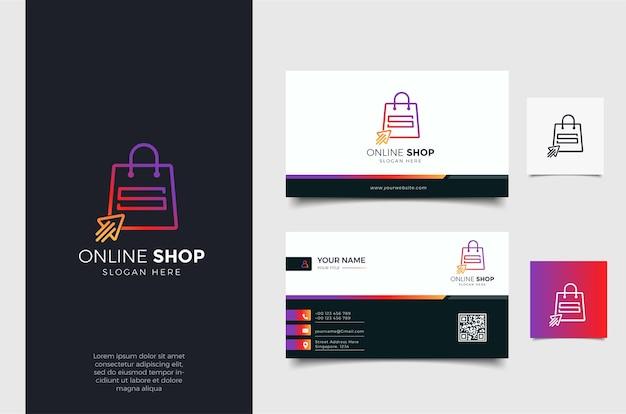 Logotipo de la tienda en línea con estilo de flecha de arte de línea degradada y plantilla de diseño de tarjeta de visita