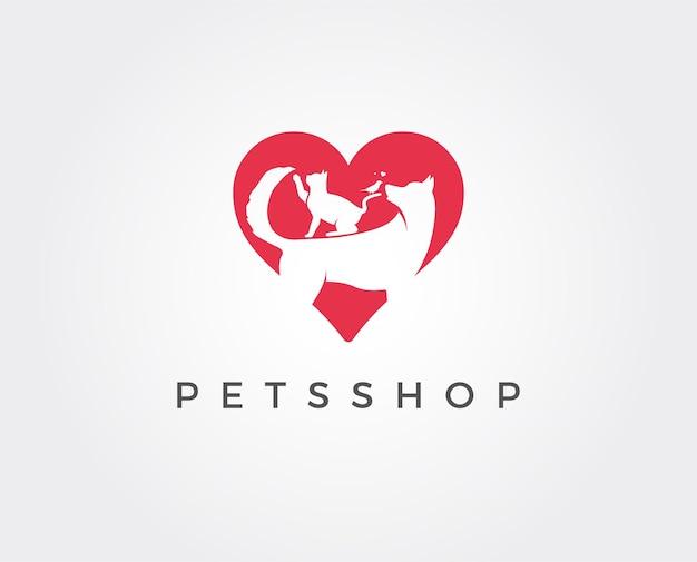 Logotipo de la tienda de mascotas animales gato perro loro icono ilustración vectorial