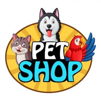 Logotipo de la tienda de mascotas con perro, gato y loro. ilustración