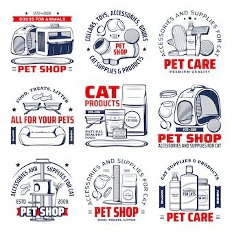 Logotipo de la tienda de mascotas con suministros para el cuidado de gatos