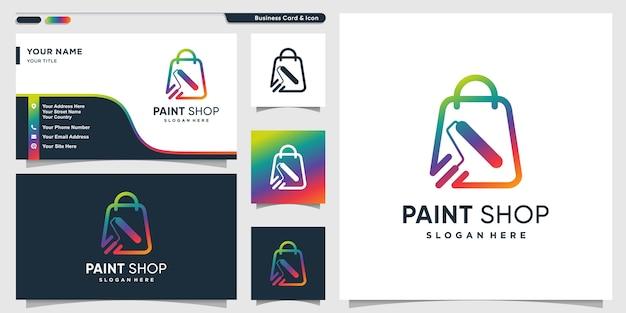 Logotipo de la tienda de pintura con estilo moderno de arte de línea degradada y plantilla de diseño de tarjeta de visita