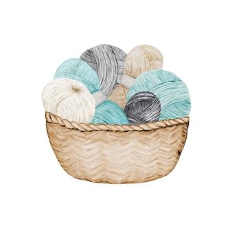 Logotipo de la tienda de tejido de ganchillo, marca, avatar composición de bolas de hilos en canasta de mimbre.