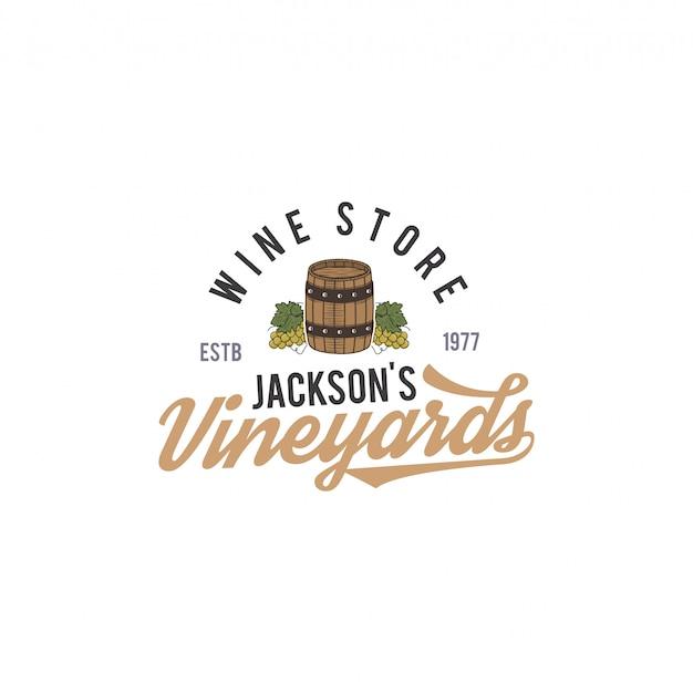 Logotipo de la tienda de vinos, etiqueta. vinos orgánicos insignia del viñedo. símbolo de bebida retro - barril de vino, vides. ilustración de diseño tipográfico. emblema de stock aislado sobre fondo blanco.