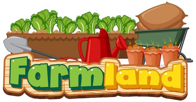 Logotipo de tierras de cultivo o banner con herramientas de jardinería aislado sobre fondo blanco.