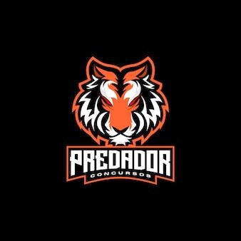Logotipo de tigre cabeza e deportes