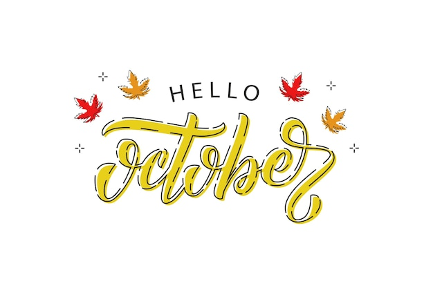 Logotipo de tipografía hola octubre realista con arce rojo y naranja y hojas de roble con línea fina para decoración y revestimiento sobre fondo blanco. concepto de otoño feliz.