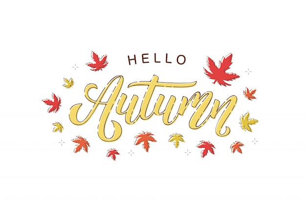 Logotipo de tipografía de otoño aislado realista con hojas de arce y roble rojas y naranjas para decoración y revestimiento en el fondo blanco.