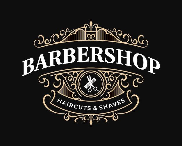 Logotipo de tipografía victoriana vintage adornado de barbería con marco ornamental decorativo