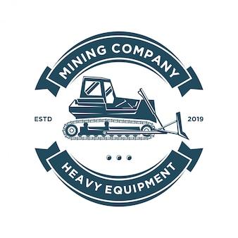 Logotipo de topadora para trabajo o minería de maquinaria pesada.