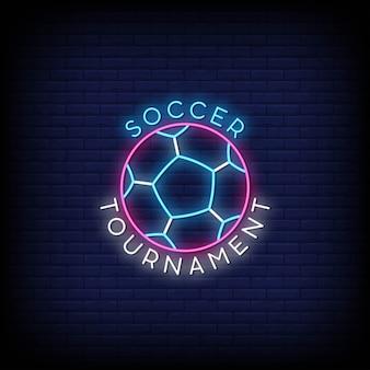 Logotipo del torneo de fútbol en letreros de neón