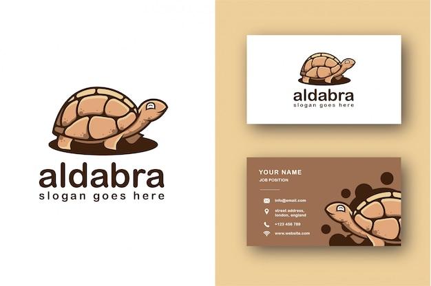 Logotipo de tortuga aldabra y plantilla de tarjeta de visita