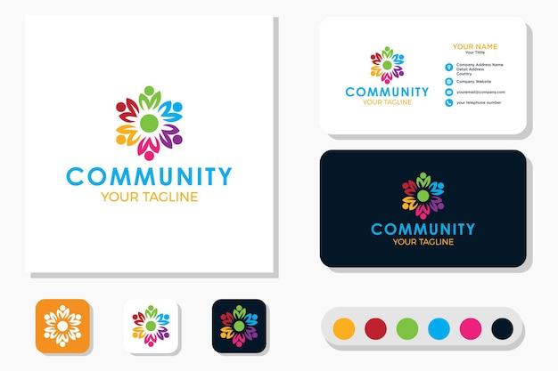 Logotipo de trabajo en equipo comunitario y tarjeta de presentación
