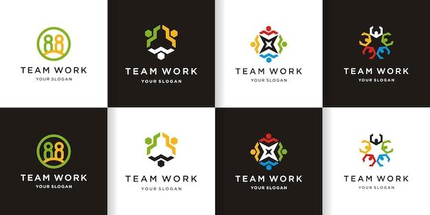 Logotipo de trabajo en equipo de etapa
