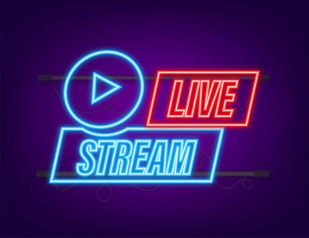 Logotipo de transmisión en vivo. icono de neón. interfaz de transmisión. ilustración de stock vectorial.