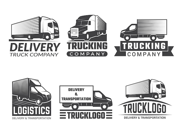Logotipo de transporte camión silueta varios emblemas de tema logístico. logotipo de empresa aislado