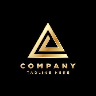 Logotipo de triángulo de lujo, logotipo de triángulo de letra e, logotipo de delta dorado