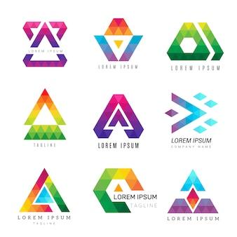 Logotipo de triángulo poligonal. negocio color identidad símbolos abstractos polígonos gráficos vectoriales ornamentales. ilustración polígono geométrico empresarial moderno, logotipo corporativo