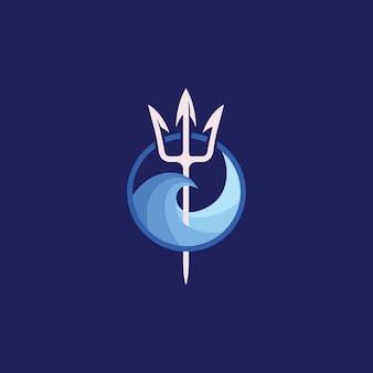 Logotipo del tridente de neptuno y ola de mar.