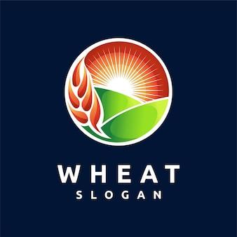 Logotipo de trigo con concepto de puesta de sol