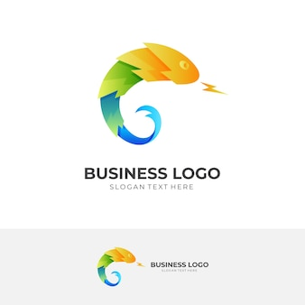 Logotipo de trueno de camaleón con estilo colorido 3d
