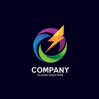 Logotipo de truenos y olas