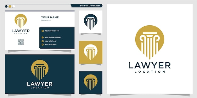 Logotipo de ubicación de abogado con estilo de contorno y plantilla de diseño de tarjeta de visita